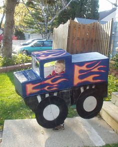 Monster-truck costume made from boxes, tape, and paint attached to the little trick-or-treater with suspenders. Designed for Halloween, the kids enjoyed the truck long after the holiday.