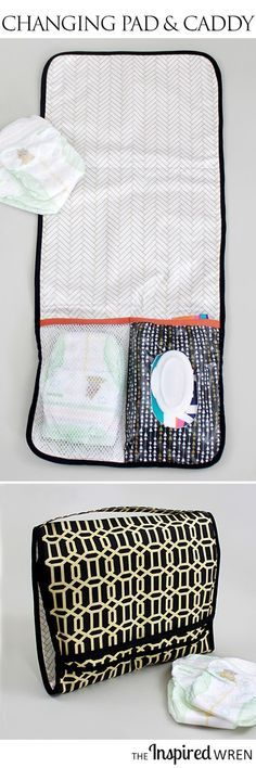 51 Things to Sew for Your Baby – Changing Mat and Diaper Caddy – Cool baby gifts, easy sewing and selling items, quick sewing things for baby, easy baby sewing projects for beginners, baby items for. Baby Sewing Projects, Sewing Projects For Beginners, Sewing For Kids, Sewing Hacks, Crochet Projects, Sewing Tips, Sewing Ideas, Knitting Projects, Sewing Crafts