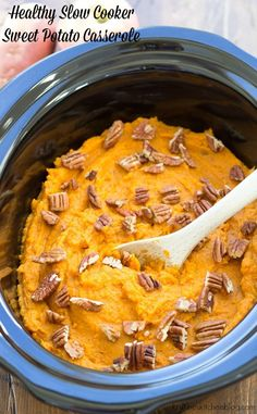 Save oven space with this Healthy Slow Cooker Sweet Potato Casserole! A secret ingredient naturally sweetens this crock pot side dish! Healthy Slow Cooker, Crock Pot Slow Cooker, Slow Cooker Recipes, Crockpot Recipes, Cooking Recipes, Paleo Meals, Vegetarian Meals, Potatoe Casserole Recipes, Sweet Potato Casserole