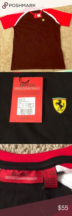 """NWT Ferrari Crew Neck Tee NWT Ferrari Men's Crew Neck Tee 100% Cotton. Official Licensed Product Tags Attached. Made In Bangladesh, Purchased In U.K. Shirt Is Black With Red Sleeves. Features Ferrari Symbol Over Heart. Has The Phrase """"SCUDERIA FERRARI"""" Across Back. Features Small Italian Flag Tag Near Left Hip. Ferrari Shirts Tees - Short Sleeve"""