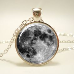 Full Moon Necklace, Glass Photo Necklace, Silver Plate (0439S1IN). $14.45 USD, via Etsy.