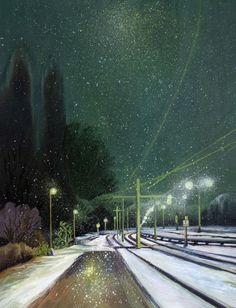 ARTFINDER: Tram stop by Oksana Reznik - oil and varnish on canvas