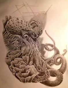 55 eye-catching octopus tattoos ideas for men and women - best squid . - 55 eye-catching octopus tattoos ideas for men and women – best octopus tattoo idea designs – - Octopus Tattoo Sleeve, Octopus Tattoo Design, Octopus Tattoos, Sleeve Tattoos, Tattoo Designs, Design Tattoos, Tattoo Ideas, Sea Tattoo Sleeve, Ocean Tattoos