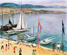Charles CAMOIN - The Port of Saint-Tropez with white sail [Var, Provence-Alpes-Côte-d'Azur] Saint Tropez, Art Fauvisme, Art Français, Sea Art, Henri Matisse, French Art, Landscape Art, Klimt, Painting Inspiration