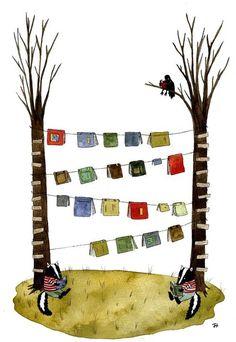Library between trees / Biblioteca entre árboles (ilustración de Jessixa Bagley)