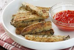 Healthy and delicious: Baked Breaded Eggplant Sticks (omit bread crumbs and substitute Almond Flour) #advocare #24daychallenge