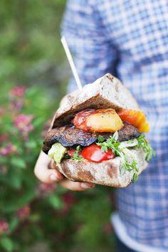 Portobello Burger with Peaches and Salad by greenkitchenstories via designsponge #Burger #Portobella #Vegetarian