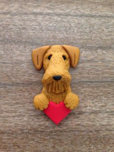 Airedale Terrier OOAK Clay Pin by designsbyginnybaker on Etsy