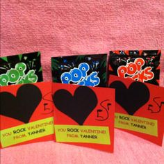 """""""Valentines for kindergarten class!""""  Oh, man!!!  And they're BLACKhearts! :)  Too bad I already purchased rock n roll valentines last year just in case I had a class this year, ha...."""