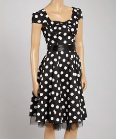 Look at this #zulilyfind! HEARTS & ROSES LONDON Black & White Big-Dot Bow A-Line Dress by HEARTS & ROSES LONDON #zulilyfinds