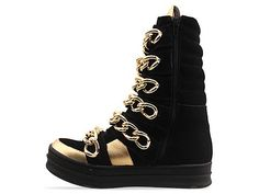Jeffrey Campbell Rusher in Black Suede Gold at Solestruck.com