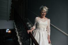 A vintage style tea length dress, with a lace cardigan. Vicki & Dan - Wee Beauty Wedding Photography Scotland