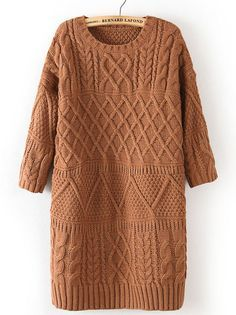To find out about the Khaki Half Sleeve Cable Knit Long Sweater at SHEIN, part of our latest Sweaters ready to shop online today! Cable Knit Sweaters, Long Sweaters, Pullover Sweaters, Oversized Sweaters, Tunic Sweater, Long Sleeve Sweater, Loose Sweater, Neue Trends, Half Sleeves