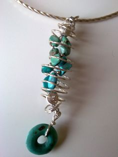 Sterling silver wire wrapped turquoises by AdornmentsToAdore, $59.00