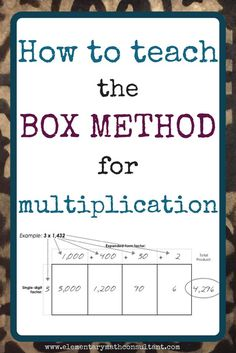 What is the Box Method for multiplication? The box method is a strategy for multiplying large numbers. It is an alternative to the standard algorithm for multiplication. The box method is based on an area array representation of multiplication Math Strategies, Math Resources, Math Activities, Multiplication Strategies, Math Tips, Teaching Multiplication Facts, Division Strategies, Math Division, Math Worksheets