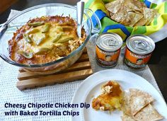 A Squared: Game Day Cheesy Chipotle Chicken Dip with Baked Tortilla Chips recipe featuring La Morena peppers #VivaLaMorena #CollectiveBias #ad