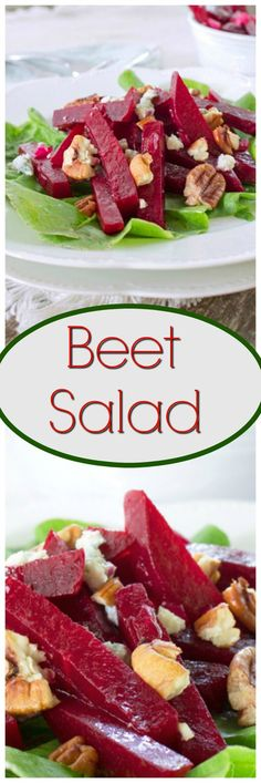 Beet Salad...A delicious cold salad with a homemade dressing. Made with fresh beets and garnished with blue cheese and chopped walnuts.