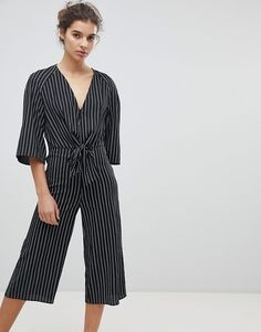 Miss Selfridge | Miss Selfridge Tie Front Stripe Culotte Jumpsuit