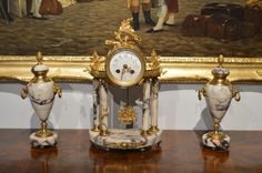 A Late 19th Century French Marble & Ormolu Clock Garniture C1880-1900