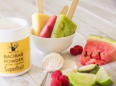 Bursting with fresh, fruity flavours with a zesty tart twist of organic baobab powder, these Fruity Baobab Ice Lollies are instant summer crowd-pleasers that are guilt-free and healthy.