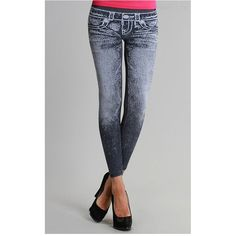 High Quality Seamless Washed Denim Jean Print Leggings Tights Stretch ONE SIZE