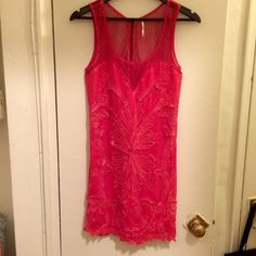 Free People / size M / red embellished dress Only worn once!  Free People, size M, bodycon dress with embellishments Free People Dresses Midi