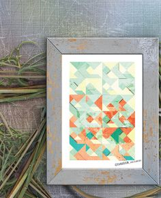 Abstract Art Poster Print, Colorful Illustration - Happy Home & Office Decor. Wall Decor. Colors, Geometric shapes.. $18.50, via Etsy.