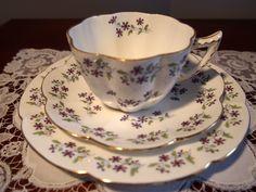 Antique SHELLEY (Late Foley) Violet Shape Trio 'Cornflower' 8309 in Pottery, Glass, Pottery, Porcelain, Shelley | eBay