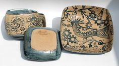 Ceramic plate set with birds -  in rustic natural and slate blue In stock Ready to Ship by bridgespottery on Etsy