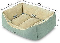Amazon.com : Dog Bed Cat Pet Bed Machine Washable Luxury Soft PP Cotton-Filled Coral Fleece Bed for Small Medium Large Pet Green and Beige : Pet Supplies