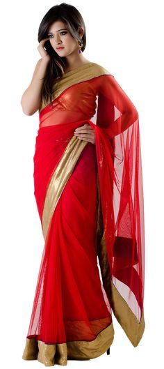 : Red and Maroon color family Saree