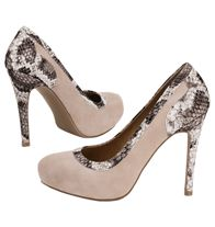 "Exotic Print Pump - Suede-look upper with faux-snakeskin trim. Beautiful neutral color. Hidden platform, 3/4"" H; heel, 4 3/8"" H  Quick item entry # 296-216"