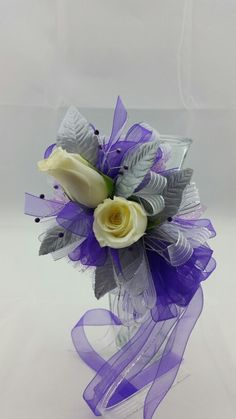 Two White Rose Corsage with Royal Purple and Silver Accent