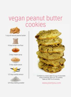 The peanut butter cookie recipe is perfect! You only need 6 simple ingredients to make a dozen healthy peanut butter cookies. If you're looking for more whole food plant-based recipes check out our Plant Ahead Meal Prep Program. Easy Vegan Cookies, Healthy Cookie Recipes, Vegan Dessert Recipes, Whole Food Recipes, Healthy Cookies, Easy Vegan Snack, Vegan Oatmeal Cookies, Protein Recipes, Protein Foods