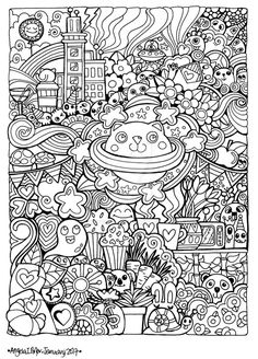 Angela porter coloring pages Free Adult Coloring, Adult Coloring Book Pages, Cute Coloring Pages, Doodle Coloring, Animal Coloring Pages, Coloring Books, Cute Doodle Art, Doodle Art Drawing, Cute Doodles