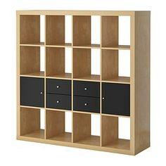 EXPEDIT storage combination w doors/drawers, black, birch Width: 149 cm Height: 149 cm