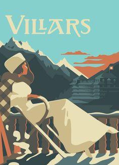 Mads Berg Illustration - Index Art Deco Illustration, Ski Posters, Art Deco Posters, Evian Les Bains, Fürstentum Liechtenstein, Retro, Kunst Poster, Vintage Graphic Design, Vintage Travel Posters