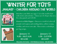 """""""Green is a Chile Pepper"""", Winter for Tots 2016-2017 at the Muscatine Art Center."""