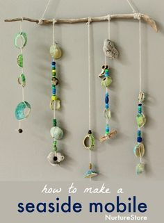 How to make a shell mobile :: seaside craft - NurtureStore Art For Kids, Crafts For Kids, Arts And Crafts, Seashell Crafts Kids, Kids Beach Crafts, Ocean Crafts, Summer Activities, Craft Activities, Thanksgiving Activities