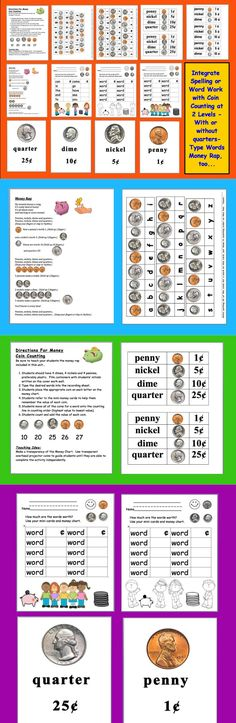 $ Money Coin Counting Center – Integrate Math With Word Work -  Your students can practice counting coins while they learn the spelling of words.  This can be used to reinforce sight vocabulary as well.