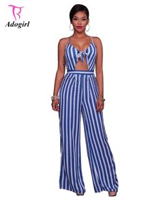 2c2db0f8696c New 2017 Women Summer Sexy Striped Loose Hollow Out Nightclub Jumpsuits  Backless Spaghetti Strap V Neck