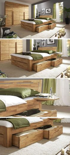 Massivholz Schubladenbett 180x200 Holzbett Bett Eiche massiv geölt - schlafzimmer massiv komplett