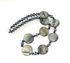 Midnight Titanium Necklace Silver Grey Blue by InspiredByKarma