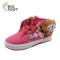 Free Shipping New 2013 Fashion Kids Sneakers Boys Canvas Shoes Bear Decoration Casual Baby Outdoor Footwear Girls Sneakers $43.48