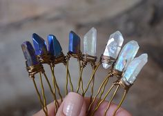 Karen likes the angel aura pins <3 Set of Four (4) Raw Aura Quartz Crystal Hair Pins, Bridal Accessories, Wedding Hair Accessories