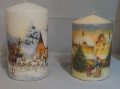 Vintage winter scenes for my Christmas candles (To view more of my decoupage work:  www.facebook.com/YourLovelyHomeStephanieSinclair/  and in my Folksy shop on www.folksy.com/shops/YourLovelyHome)