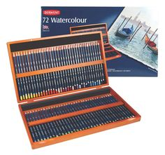 Amazon.com: Derwent Watercolor Colored Pencils, 72 Watercolour, 3.4mm Core, Wooden Box, 72 Count (32891): Office Products