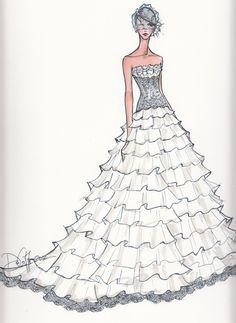 Items similar to Wedding Gift MUST-Custom Bridal Illustration 145 on Etsy - MyStyles Wedding Dress Illustrations, Wedding Dress Sketches, Dress Wedding, Fashion Prints, Fashion Art, Croquis Fashion, Dress Drawing, Fashion Design Sketches, Picture Design