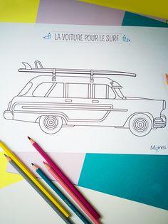 coloriage voiture pour le surf