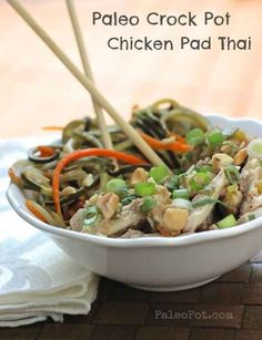 Crock Pot Chicken Pad Thai with Vegetable Noodles